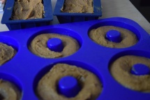use a pastry bag or a zip-lock bag to pipe the batter into the donut mold!