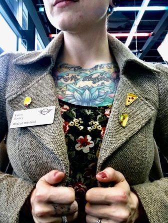 close up and pins